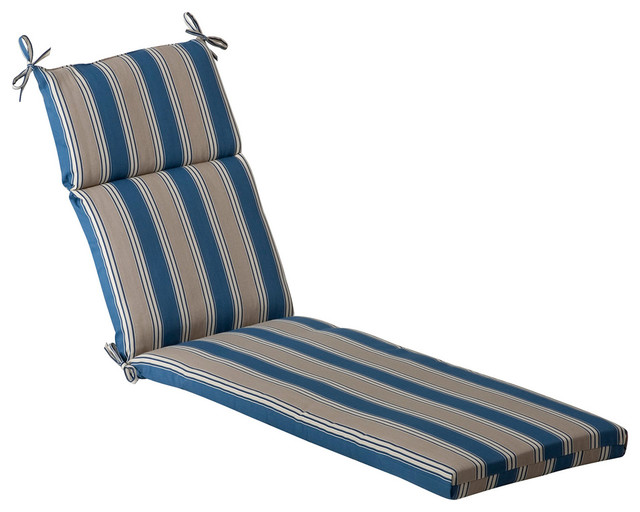 Hamilton blue chaise lounge cushion transitional for Blue outdoor chaise lounge