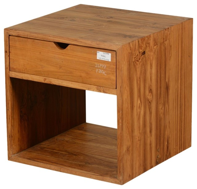 Contemporary teak wood storage square end table with drawer rustic side tables and end - Contemporary side tables with storage ...