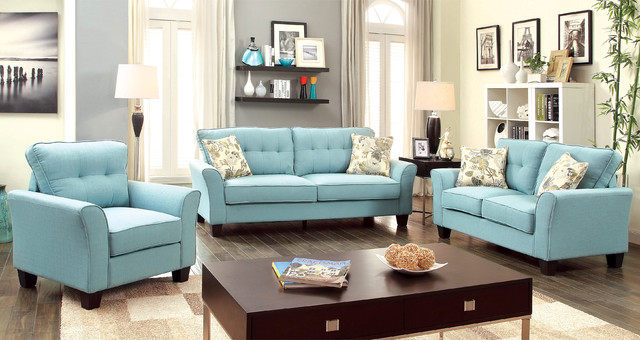 Furniture of america primavera modern 3 piece linen sofa for 6 piece living room furniture sets