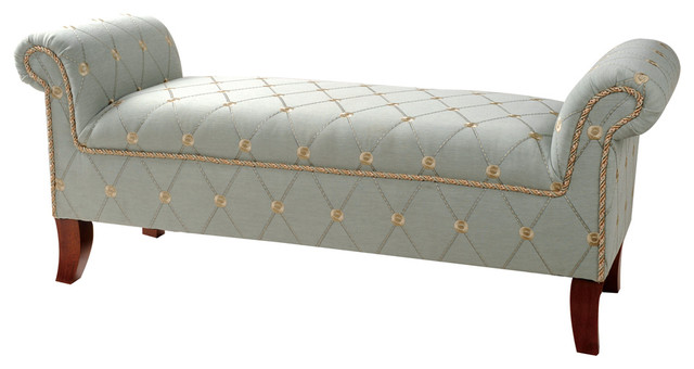 Dusty Blue Rolled Arm Bench Modern Upholstered Benches