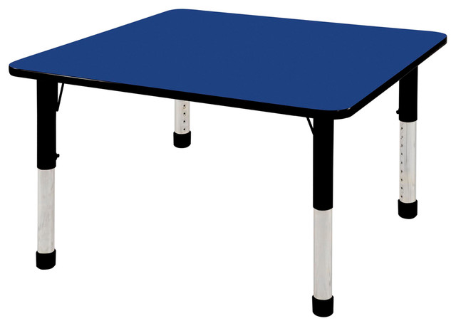 "48""x48"" Square Adjustable Activity Table Blue/Black With Chunky Legs ..."