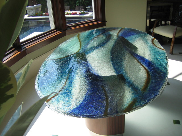 Captivating Layered Glass Table Top With Colored Frit Contemporary .
