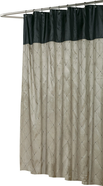 Balmoral Fabric Shower Curtain In Black Brown Contemporary Sh