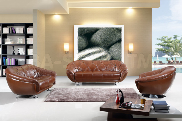 Modern Italian Leather Living Room Set In Brown Finish Sofas New York By BA