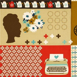 canvas retro fabric with typewriter & flowers by Kokka - Fabric