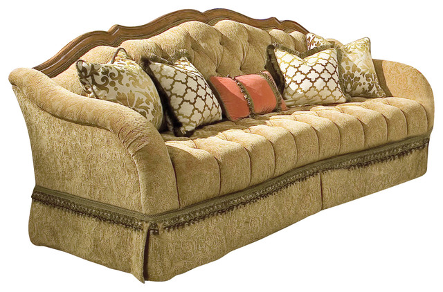 Valencia Carved Wood Traditional Bedroom Furniture Set 209000: Villa Valencia Wood Trim Tufted Sofa