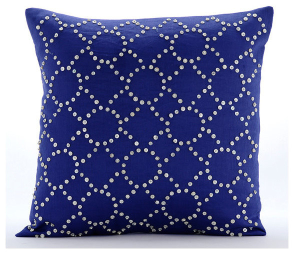 Royal blue illumination blue 16 x16 cotton linen throw for Royal blue couch pillows