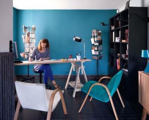 Couleur bleu canard dans mon salon for Salon bleu canard