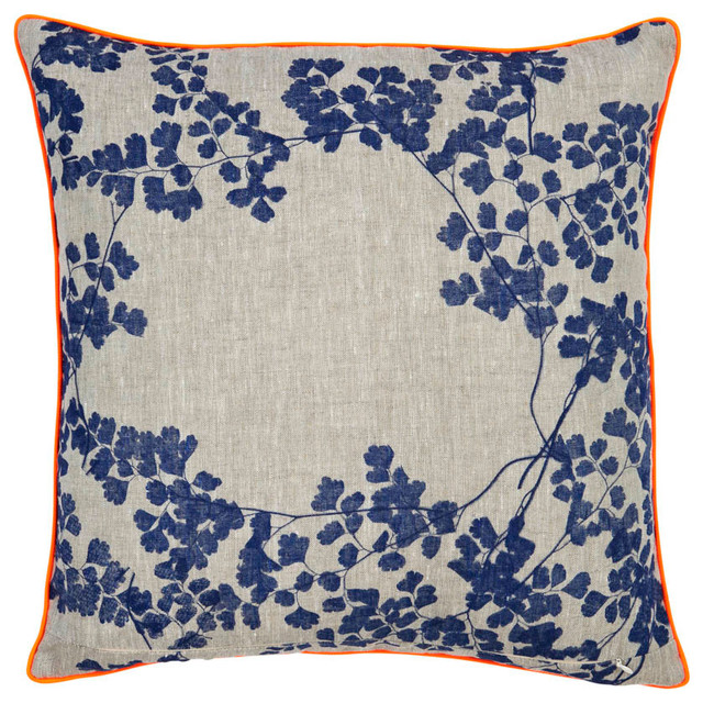 ORANGE AND NAVY LINEN PILLOW - Eclectic - Decorative Pillows - other metro - by Errez Design Inc.
