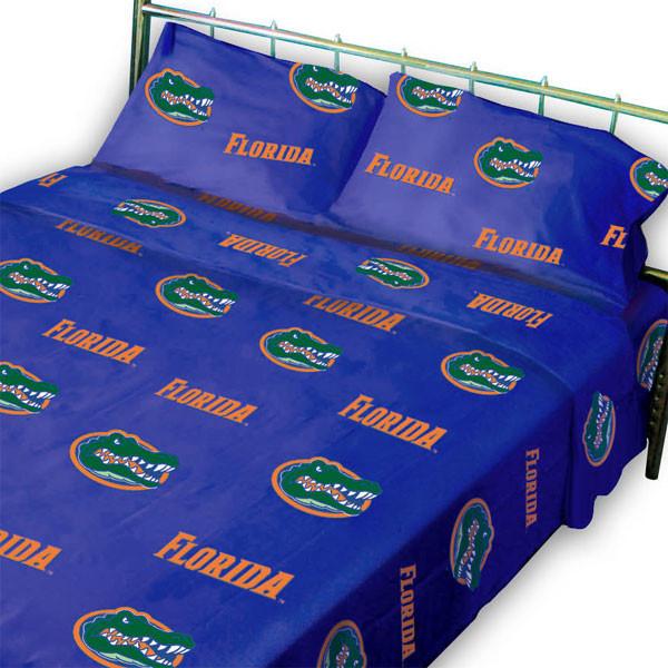 Florida Gators Bed Sheet Set Collegiate Blue Cotton Bedding Contemporary Sheet And
