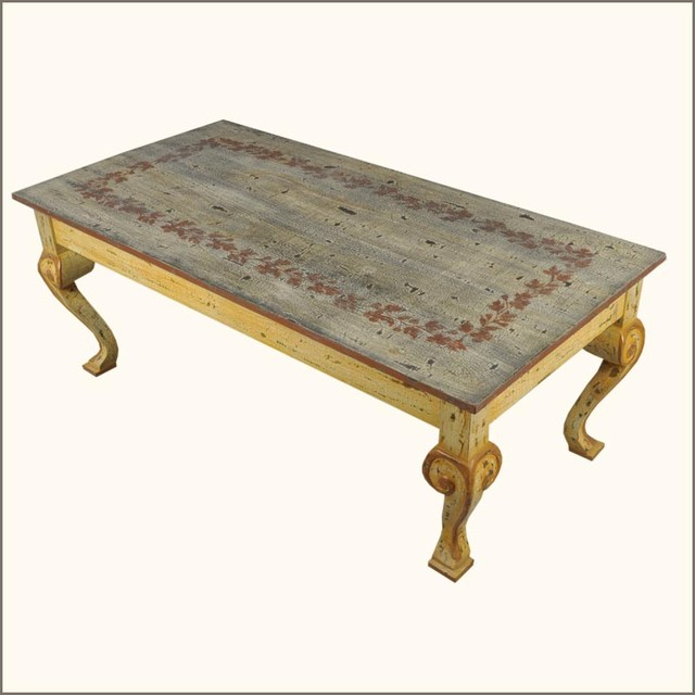 Ashley Furniture Distressed Coffee Table: Oklahoma Farmhouse Hand Painted Distressed Coffee Table
