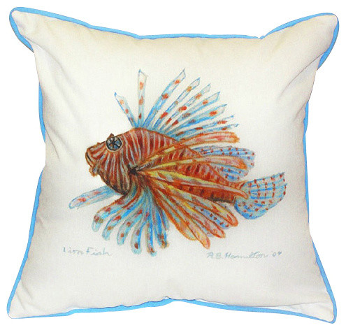 Beach Style Outdoor Cushions : Betsy Drake Lion Fish Indoor/Outdoor Pillow - Beach Style - Outdoor Cushions And Pillows - by ...