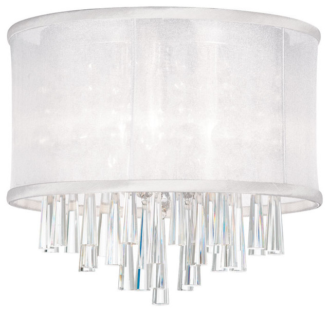 3 Light Crystal Flush Mount Fixture White Organza Drum