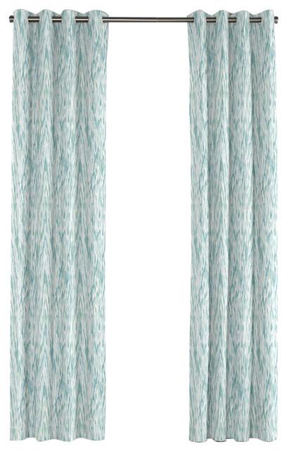 aqua blue ikat watercolor grommet curtain contemporary curtains