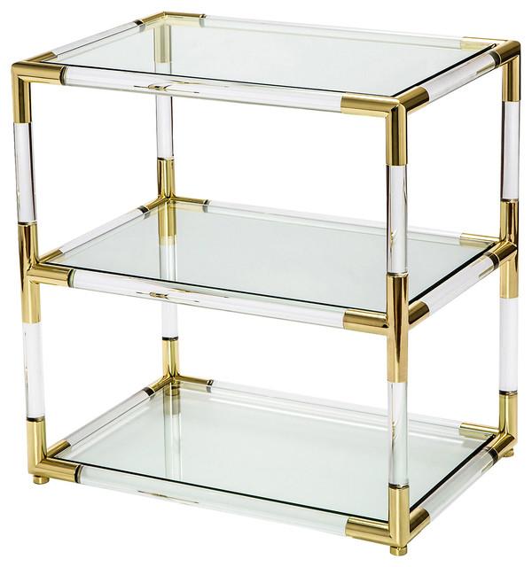 Cecil Modern Brass Corner Clear Acrylic End Table