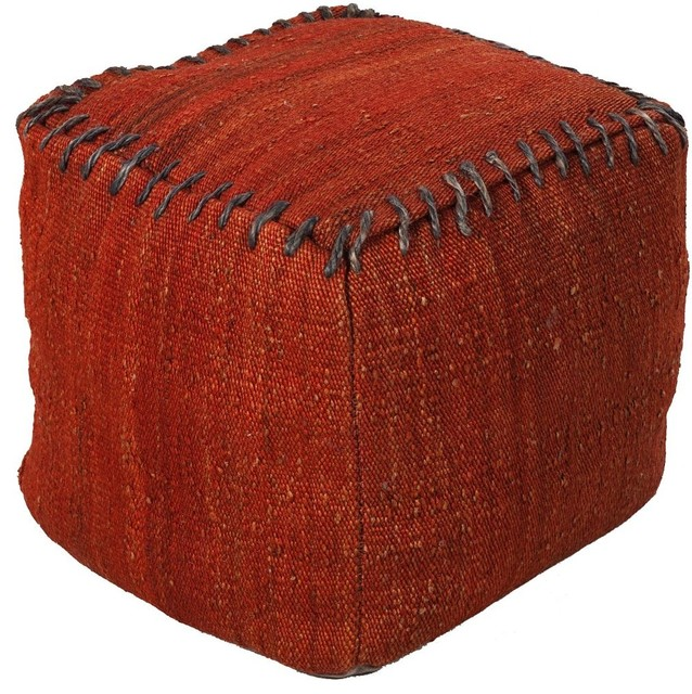 Contemporary Surya Poufs Square Red Pouf Ottoman