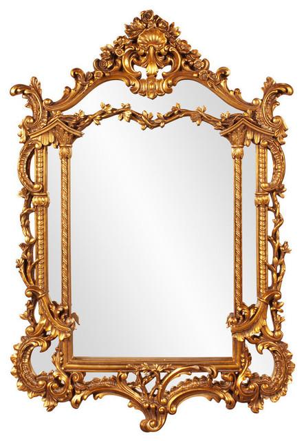 Howard elliott arlington gold baroque mirror traditional for Baroque bathroom mirror