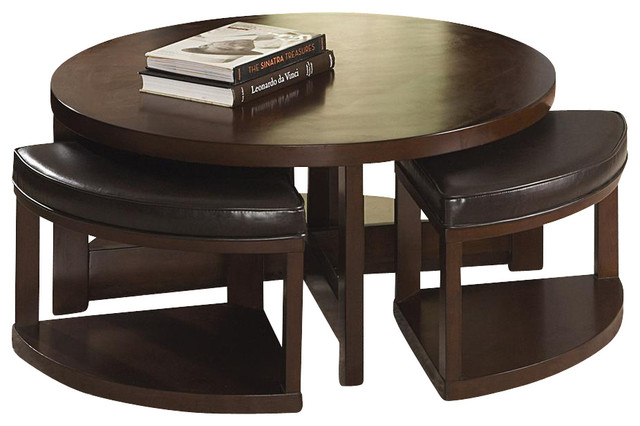 Brussel Ii Cocktail Table With 4 Ottomans Contemporary Coffee Tables