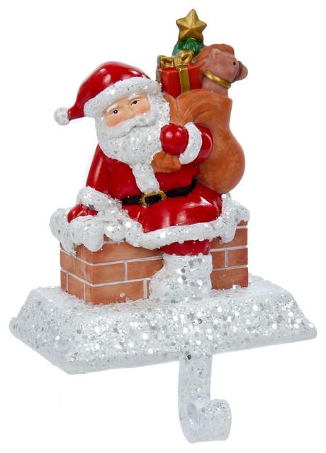 Kurt Adler 6 5 In Resin Santa With Gift Box Stocking