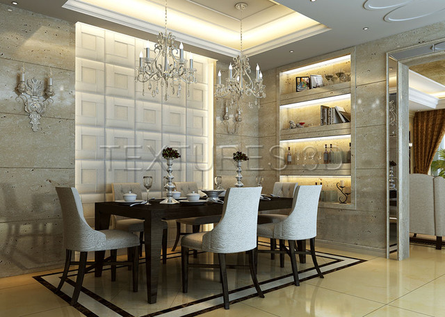 Textures 3D TEXTURE WALL PANELS PU Leather Tile Installation Dining Room