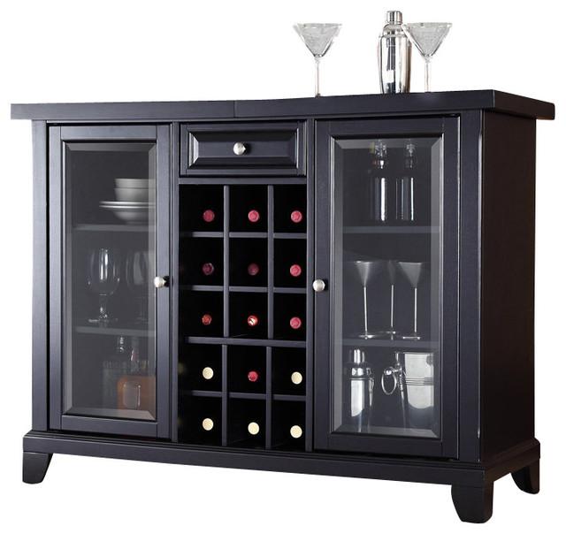 Crosley Furniture Newport Sliding Top Bar Cabinet in Black ...