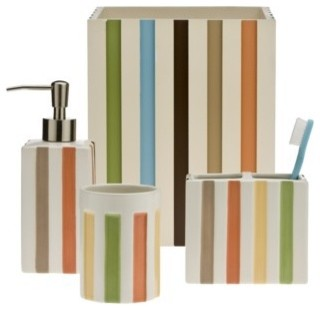 Target home striped bath collection contemporary for Bathroom accessories target