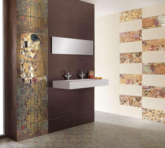 Gustav klimt 39 s 39 the kiss 39 tiles modern tile new york for Bathroom tiles spain