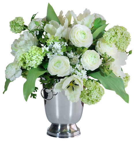 Traditional Home Garden Decor With Flower Garden Flowers In Vase Traditional Artificial Flower Arrangements