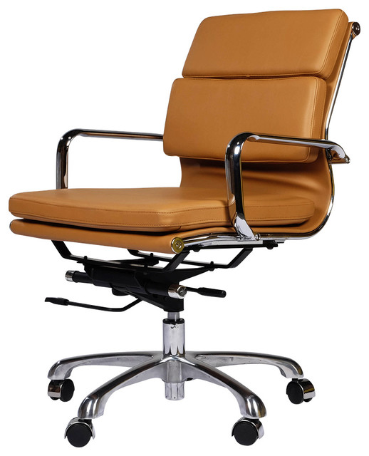 eames style executive leather office chair brown asian