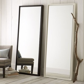 Floating wood floor mirror moderne miroir poser au for Grand miroir a poser au sol