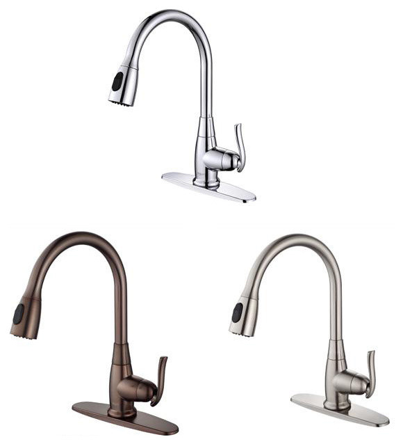 Kraus Single Lever Pull Out Kitchen Faucet Contemporary Kitchen Mixers By
