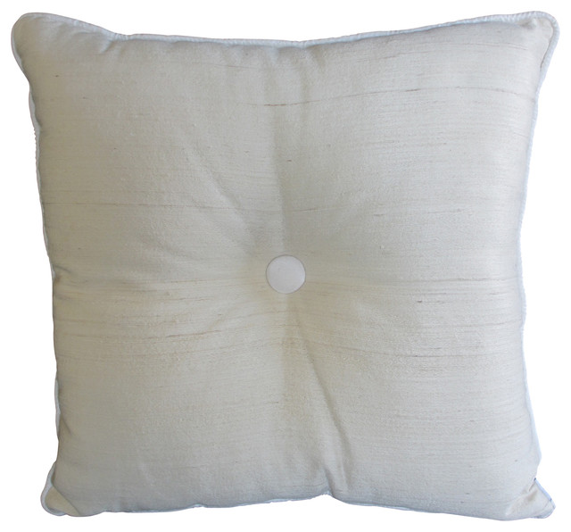 Throw Pillows With Big Buttons : Button Pillow, White - Traditional - Decorative Pillows - by Garden Candy