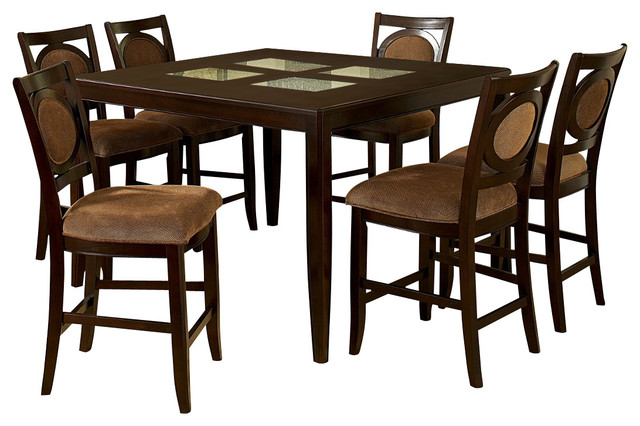 montblanc 7 piece counter height set with leaf traditional dining sets
