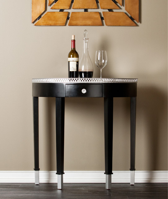 Upton Home Colette Mirrored Demilune Table Contemporary Console Tables By