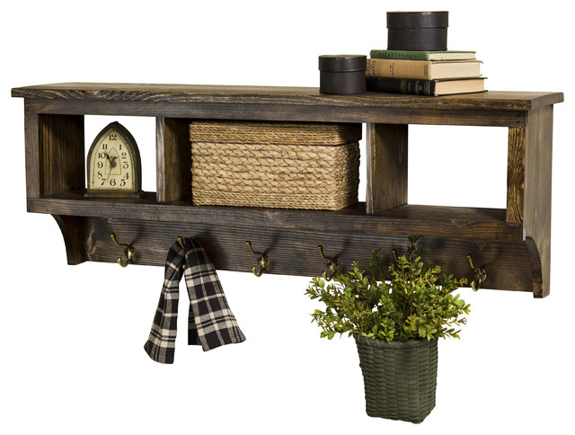 """Wood Cubby Coat Rack 42"""" Wide With 3 Cubbies - Farmhouse - Display And Wall Shelves - by ..."""