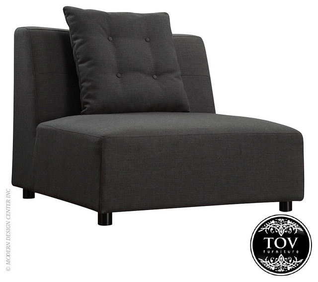 Tov Earl Grey Linen Modular Armless Chair