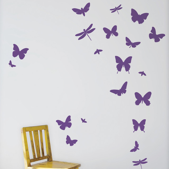 Wall Design Violet : Butterflies wall stickers violet picture frames