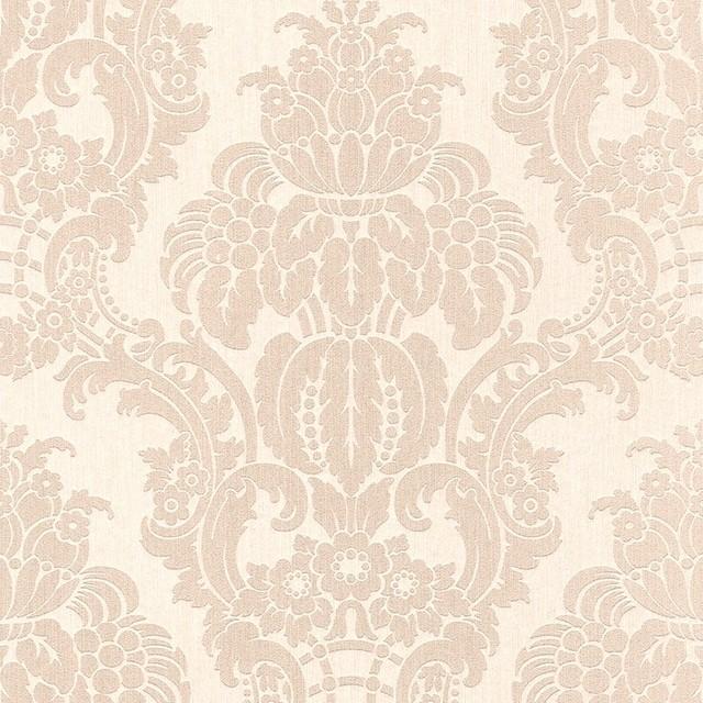 Tan grandiose damask textile wallpaper r3218 sample for Papel pintado clasico