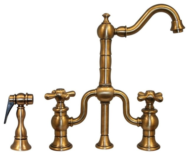 Bridge Faucet w Short Traditional Swivel Spout w Brass