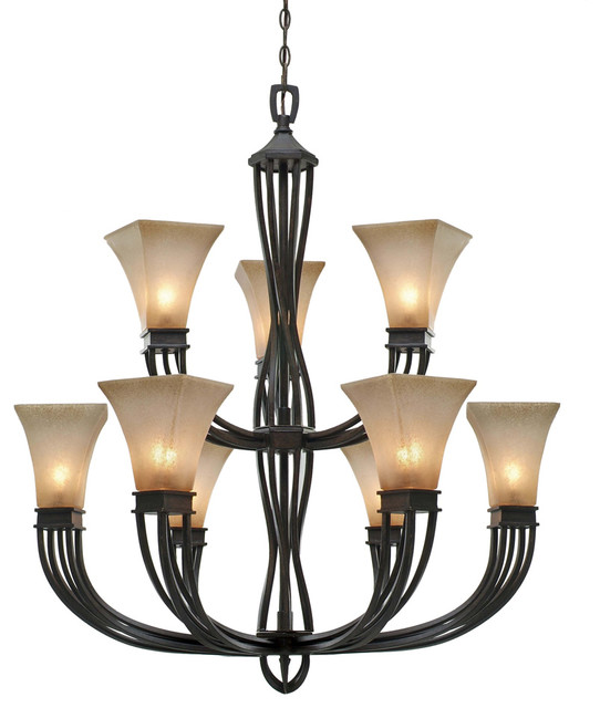 Golden Lighting 3071 9 Athena 9 Light 2 Tier Candle Style Chandelier