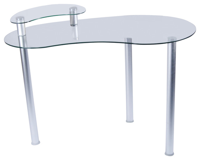 tier one designs clear glass corner computer desk with