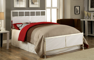 Calvin contemporary white chrome queen headboard footboard for Divan footboard