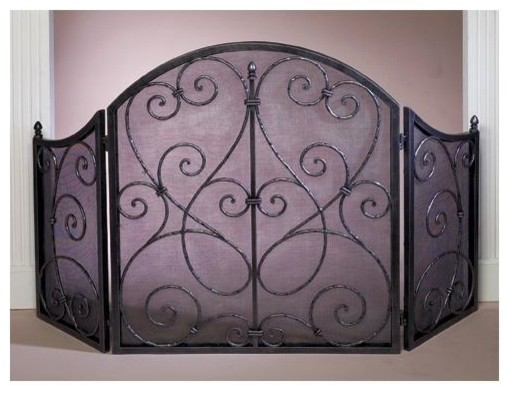 Scroll firescreen in pewter contemporary fireplace screens by shopladder - Houzz fireplace screens ...