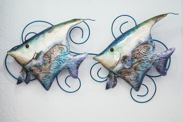 Metal Fish Wall Art with Inlaid Capiz Shell beach-style-wall-sculptures