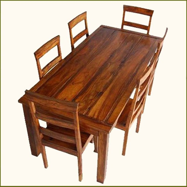 Appalachian rustic 7 pc dining table and chair set indian rosewood handmade contemporary - India dining table ...