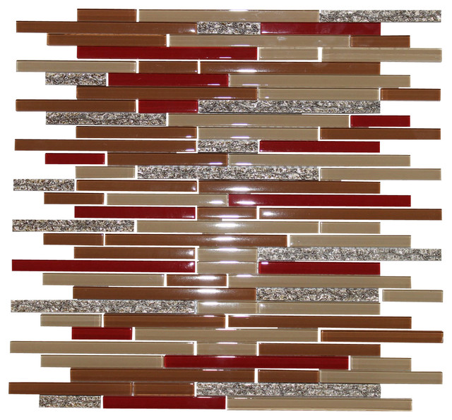 dynasty red strip glass mosaic crema mocha gold vine tile wall tiles