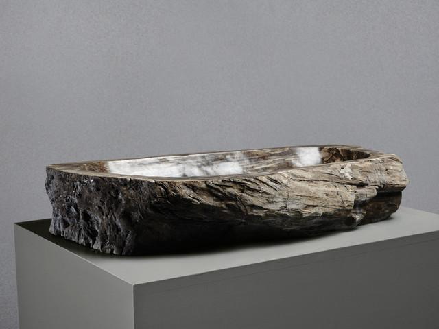 Large Petrified Wood Stone Basin Rustic Bathroom Sinks London By Lapicida Stone Group