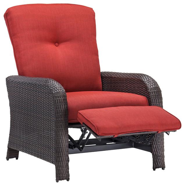 Strathmere Outdoor Reclining Arm Chair Crimson Red Contemporary Garden L