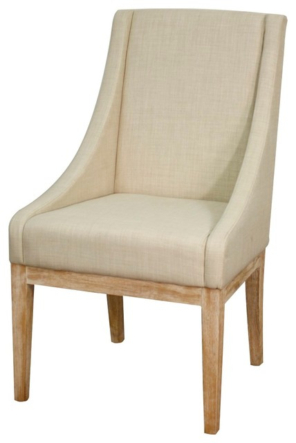Houston fabric chair w natural wood leg linen - Natural wood dining chairs ...