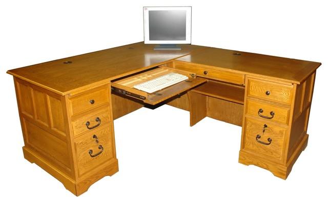 Mckale L Shaped Desk Harvest Oak 67 Quot Rustic Desks
